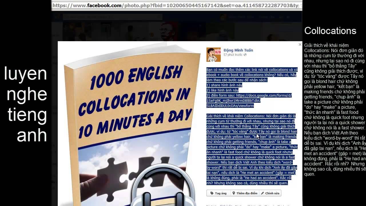 Hướng dẫn download ebook và audio luyện nghe tiếng Anh qua việc học các Collocations