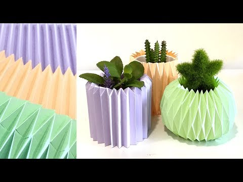 DIY Origami Vase【How to make paper vase】