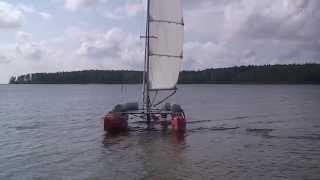 Folding catamaran sailing. The first test sail. Первый поход моего катамарана Онега 2011г.