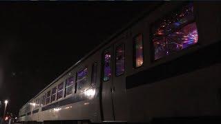 日田彦山線 イルミネーション列車 停車中を車外から