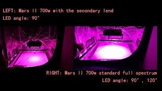 Mars II 700w standard LED Grow Lights VS Mars II 700w with the secondary lens par comparison test