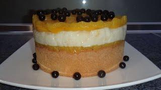 Торт без выпечки  из готовых бисквитных коржей - персиковый десерт пальчики оближешь