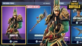NEW GUAN YU SKIN + GUANDAO PICKAXE + DIVINE DRAGON GILDER NEW ITEM SHOP (Fortnite Battle Royale)