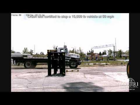 crash test-vehicle arrestor barrier with crash testing