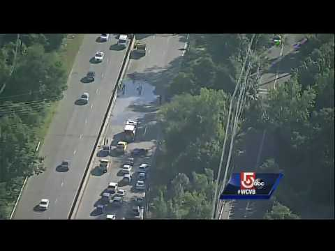 Raw Sky5 video: Concrete spill on Rt. 128