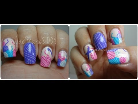 I Love Yarn Nail Art Design Youtube