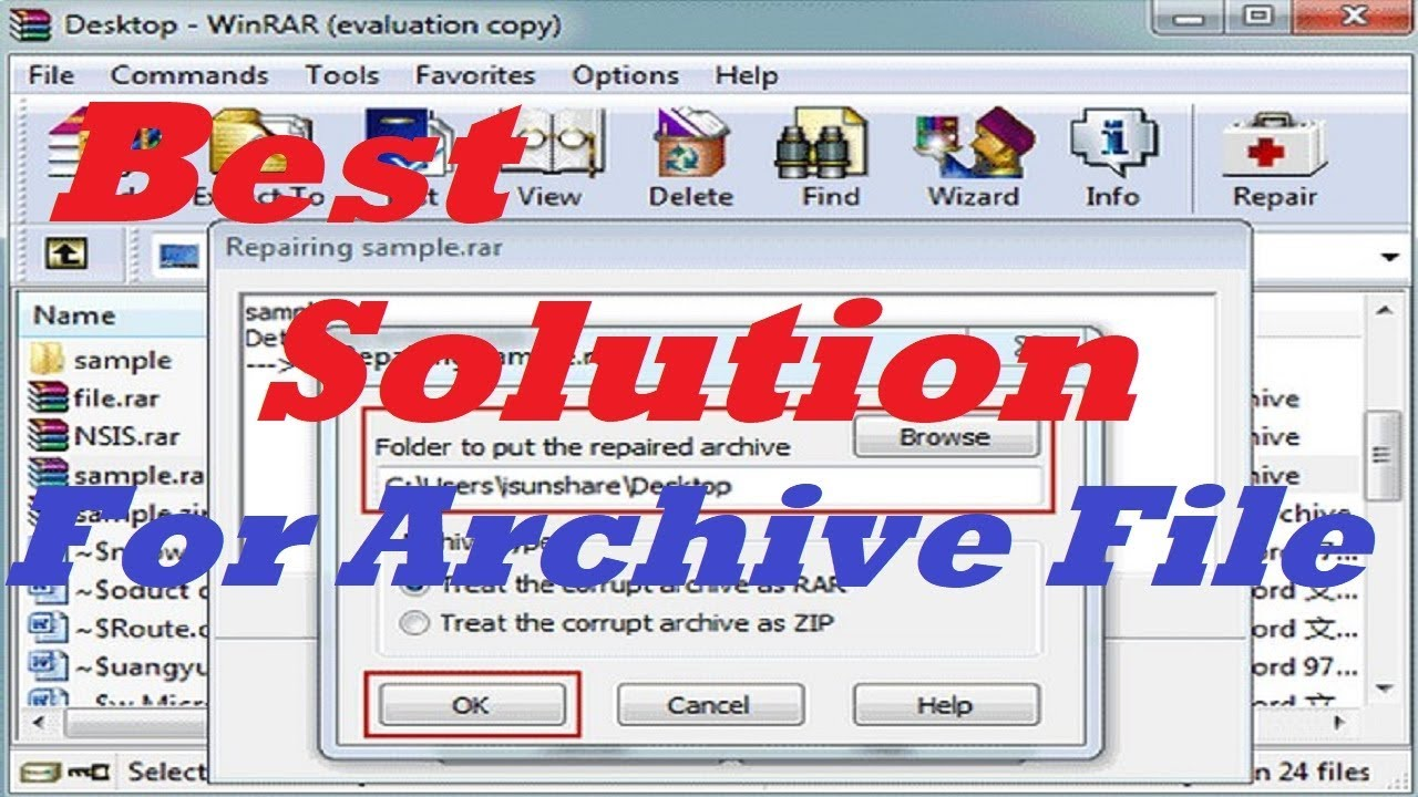 The Archive is Corrupted | How to Repair .RAR.ZIP Files Or Damage