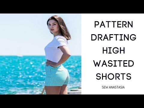 diy-pattern-drafting-high-waisted-shorts- -sew-anastasia