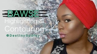 Full Face Dark Skin Highlight Contour TALK THROUGH | Destiny Godley
