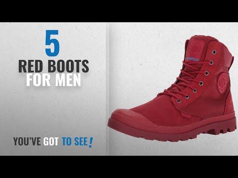 Top 10 Red Boots [ Winter 2018 ]: Palladium Men's Pampa Sport Cuff Wpn Rain Boot, Chevron/Rio Red,