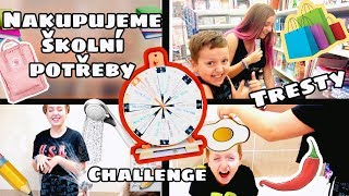 I buy school supplies - wheel of fortune + punishment / back to school