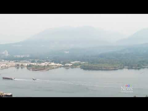 Wildfire smoke blankets Metro Vancouver | Drone footage shows hazy conditions