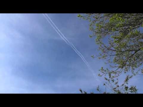up USAF F15 fighter jet  RSPB Titchwell Marsh  5may16 Norfolk UK 422p