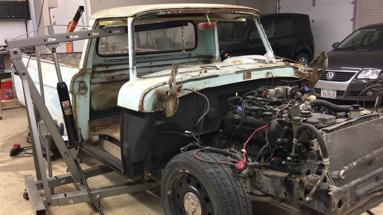 F100 to Crown Vic Frame Swap Ep 6 Body Mounting, Motorbikes, and Naptime