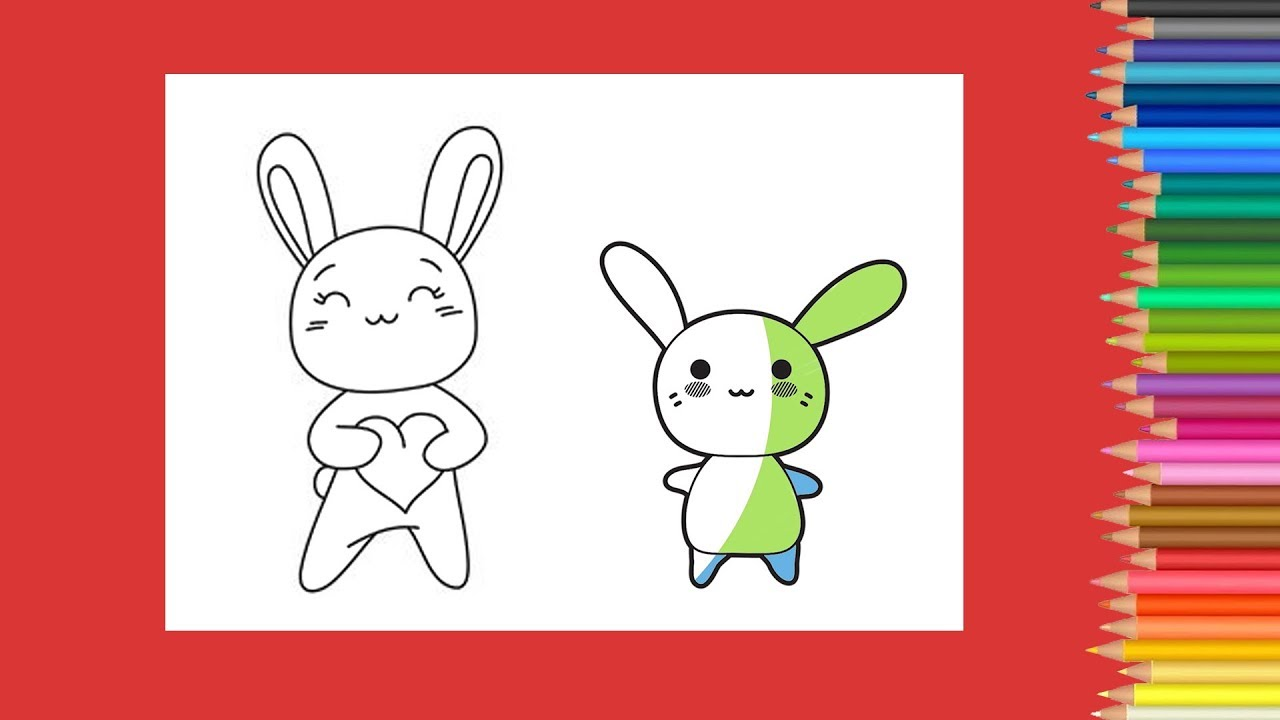 coloring kawaii little rabbit coloring book how to draw rabbit