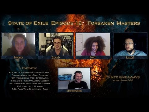 State of Exile Podcast Ep:12 - Forsaken Masters with guests RaizQT & Staceily! Current Path of Exile