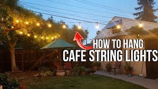 How To Hang Outdoor Cafe Lights / String Lights with LED Test & Review -Jonny DIY