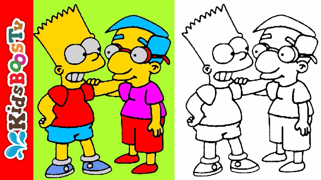 Simpsons coloring games online - Simpsons Coloring Pages For Kids Bart Simpson Talking With Milhouse Van Houten