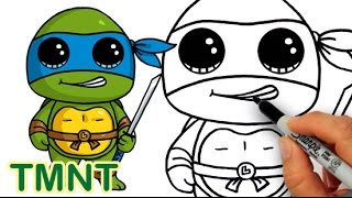 How to Draw Teenage Mutant Ninja Turtle Leonardo Cute step by step