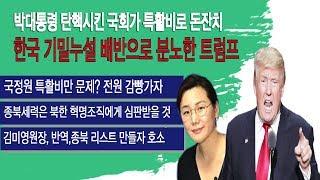18년7월7일 한국 기밀누설 배반으로 분노한 트럼프.박대통령 탄핵시킨 국회가 특활비로 돈잔치. 모조리 깜빵 가즈아!