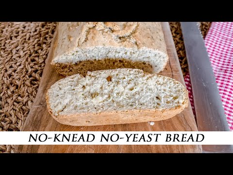 No-Knead No-Yeast Homemade Bread With Olive Oil & Herbs