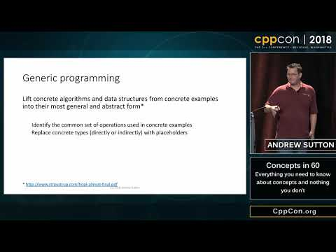 """CppCon 2018: Andrew Sutton """"Concepts in 60: Everything you need to know and nothing you don't"""""""