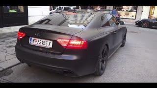 LOUDEST AUDI RS5 terrorize Vienna!! Loud Start + Extreme loud Rev & Acceleration