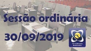 Sessão ordinária 30/09/2019