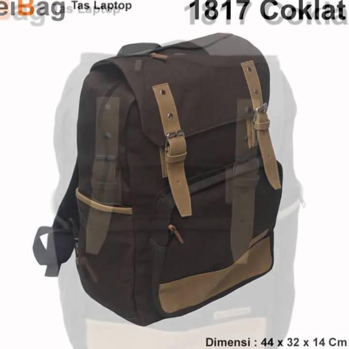 Tas Laptop Murah Model Ransel Bahan Kanvas EIBAG 1817 Coklat - YouTube 512ad721a7