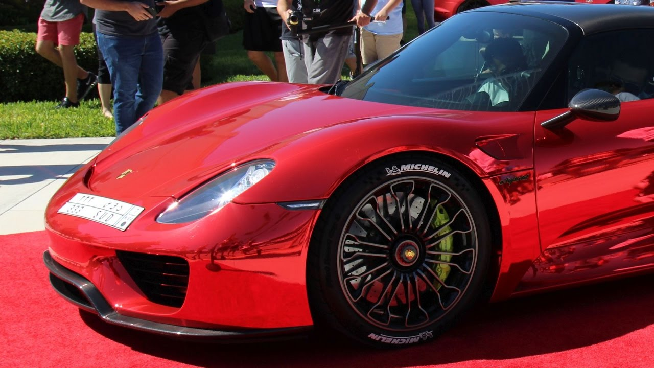 the worlds first chrome red porsche 918 spyder at palm beach cars and coffee