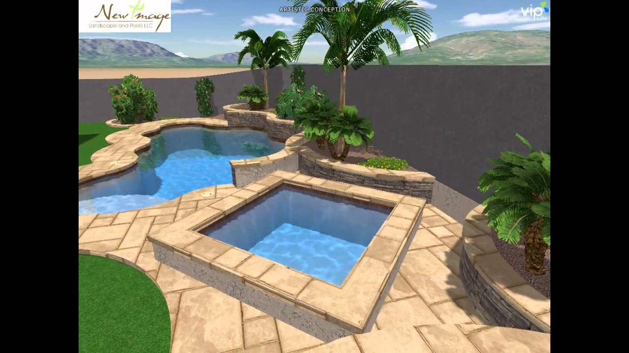 New image landscape and pools custom swimming pool spa for Pool with fireplace