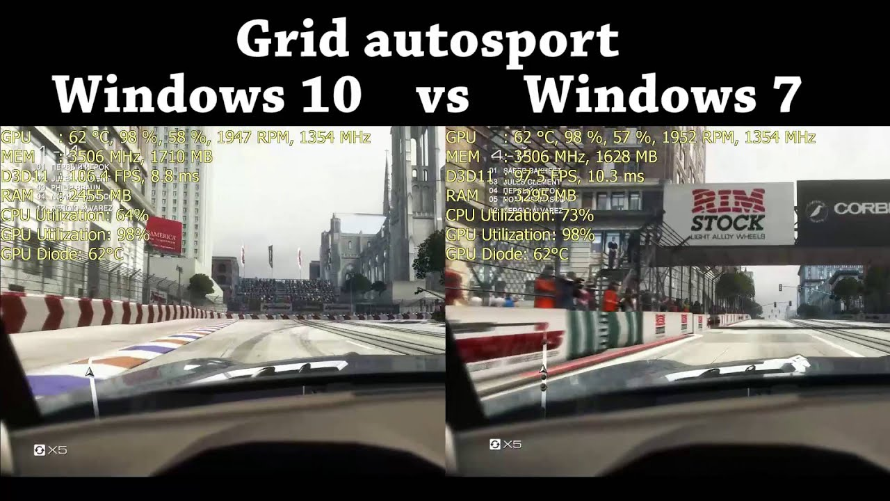 Grid autosport Windows 10 vs Windows 7