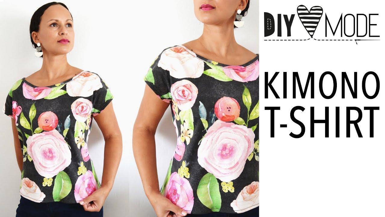 Kimono Tee nähen / T-Shirt mit kostenlosem Schnittmuster / deutsche ...