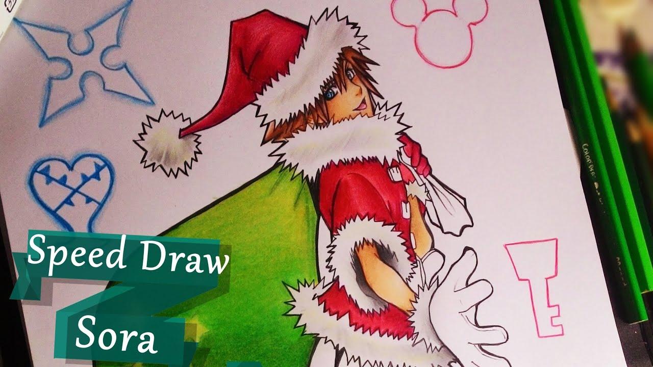 Speed Drawing - Sora Christmas - Kingdom Hearts - YouTube
