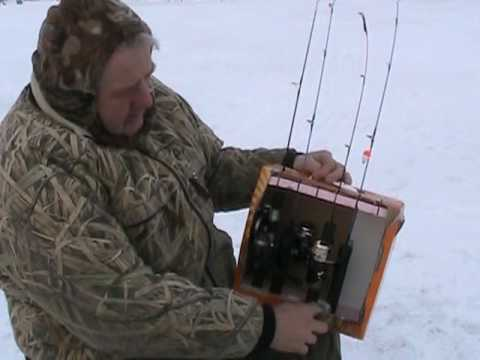 Ice fishing rod holder youtube for Ice fishing rod holders