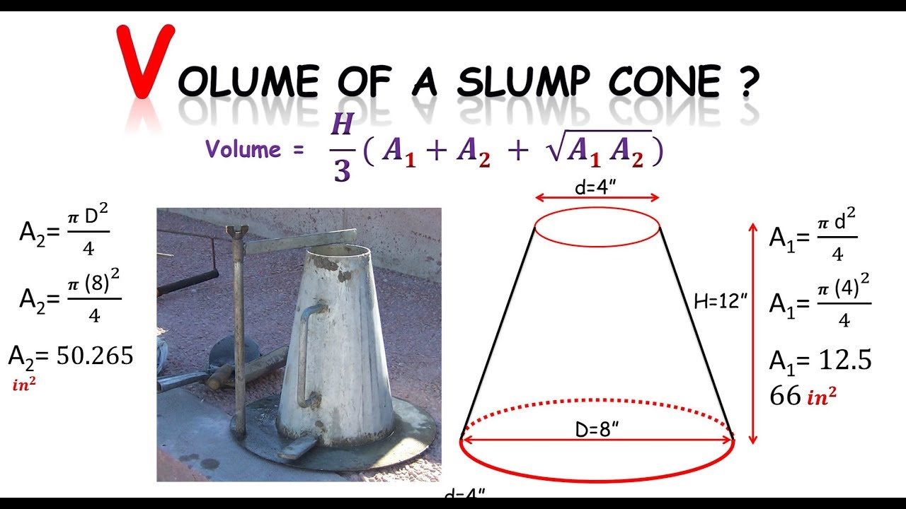 Quantity Survey How To Find Volume Of A Slump Cone Youtube