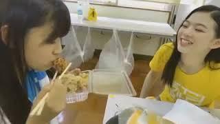 山尾 梨奈 中川美音 溝川実来 NMB48 唐揚げを食べる美音と、割と本気で...