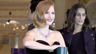 Jessica Chastain at the launch of Galerie Lafayette Christmas tree in Paris