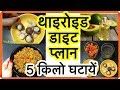 Thyroid Diet Plan for Weight Loss : How to Lose Weight Fast 5KG in 10 Days Hindi थाइरोइड