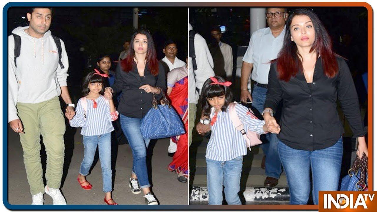 Aishwarya Rai Bachchan, Abhishek Bachchan Return With Aaradhya From Their Goa Vacation