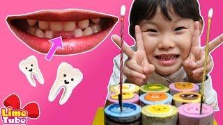 라임 두번째 치아를 뽑다! 민간 요법 & 베스킨라빈스 아이스크림 케이크 먹방 learn colors with Children picking teeth 라임튜브