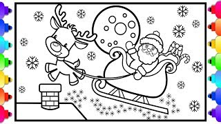 How to Draw Santa's Sleigh Step by Step Easy for Kids 🎄❤️🎄Christmas Coloring Pages