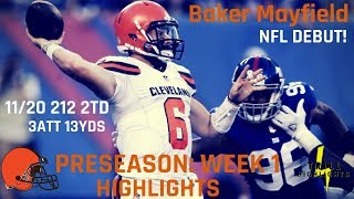 Baker Mayfield Preseason Week 1 Highlights | NFL Debut!  08.09.2018