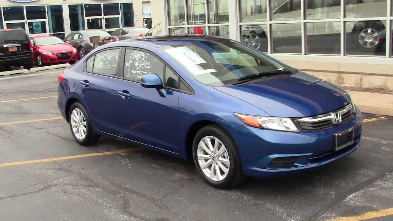 dyno blue pearl new 2012 honda civic ex l with navi and leather youtube. Black Bedroom Furniture Sets. Home Design Ideas