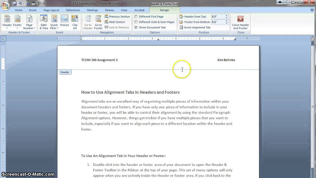 How to Use Alignment Tabs in Microsoft Word 2010 for PC ...