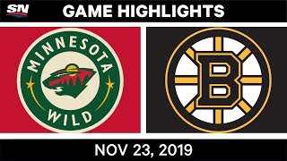 NHL Highlights | Wild vs. Bruins - Nov. 23, 2019