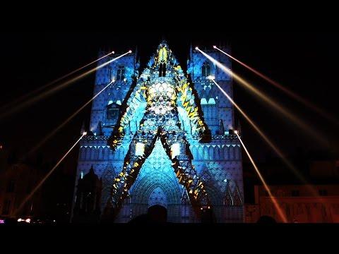"""Fête des Lumières 2016 - Lyon - France : """"Evolutions"""" à la Cathédrale Saint-Jean en FULL HD"""
