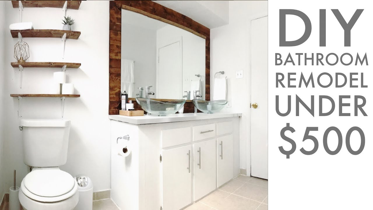 Remodeling A Bathroom For Under DIY How To Modern Builds - Cheap diy bathroom remodel ideas