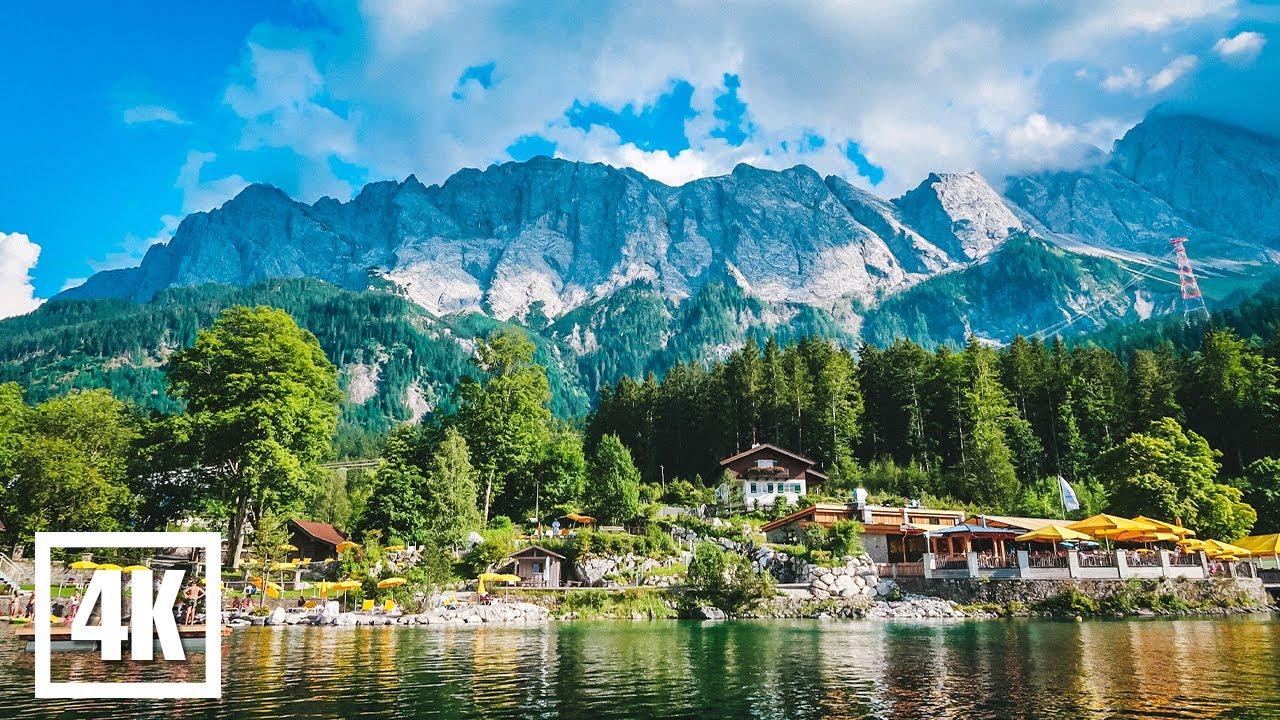 Eibsee, Germany. Nature 4k. Озеро Айбзее, Германия. Природа 4к.