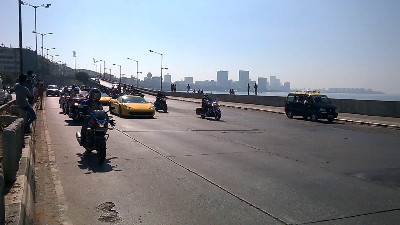Parx Supercar Rally Mumbai At Marine Drive Hd With Engine